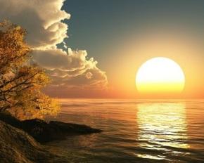 huge setting sun