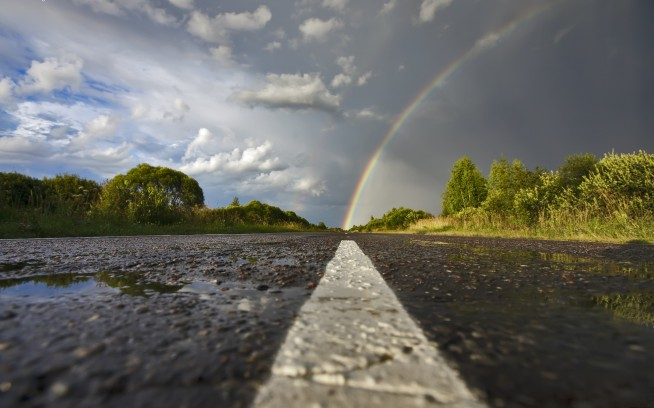 road and rainbow