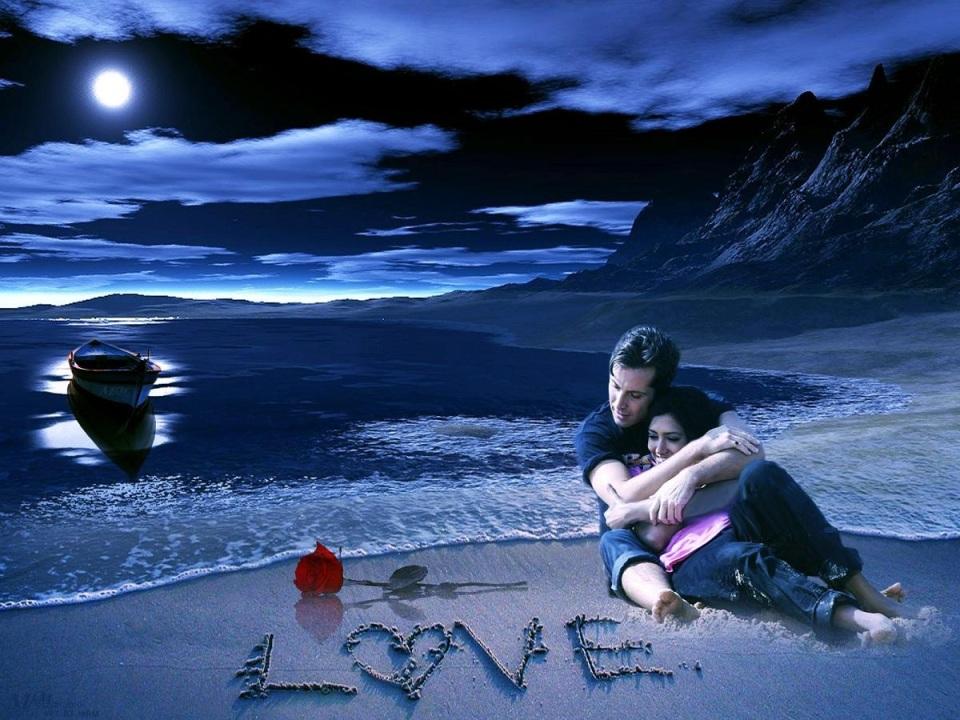 love couple beach and flower